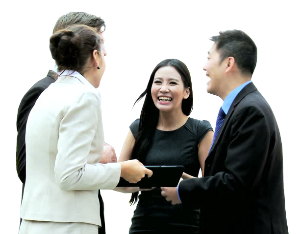 Business people in suits laughing