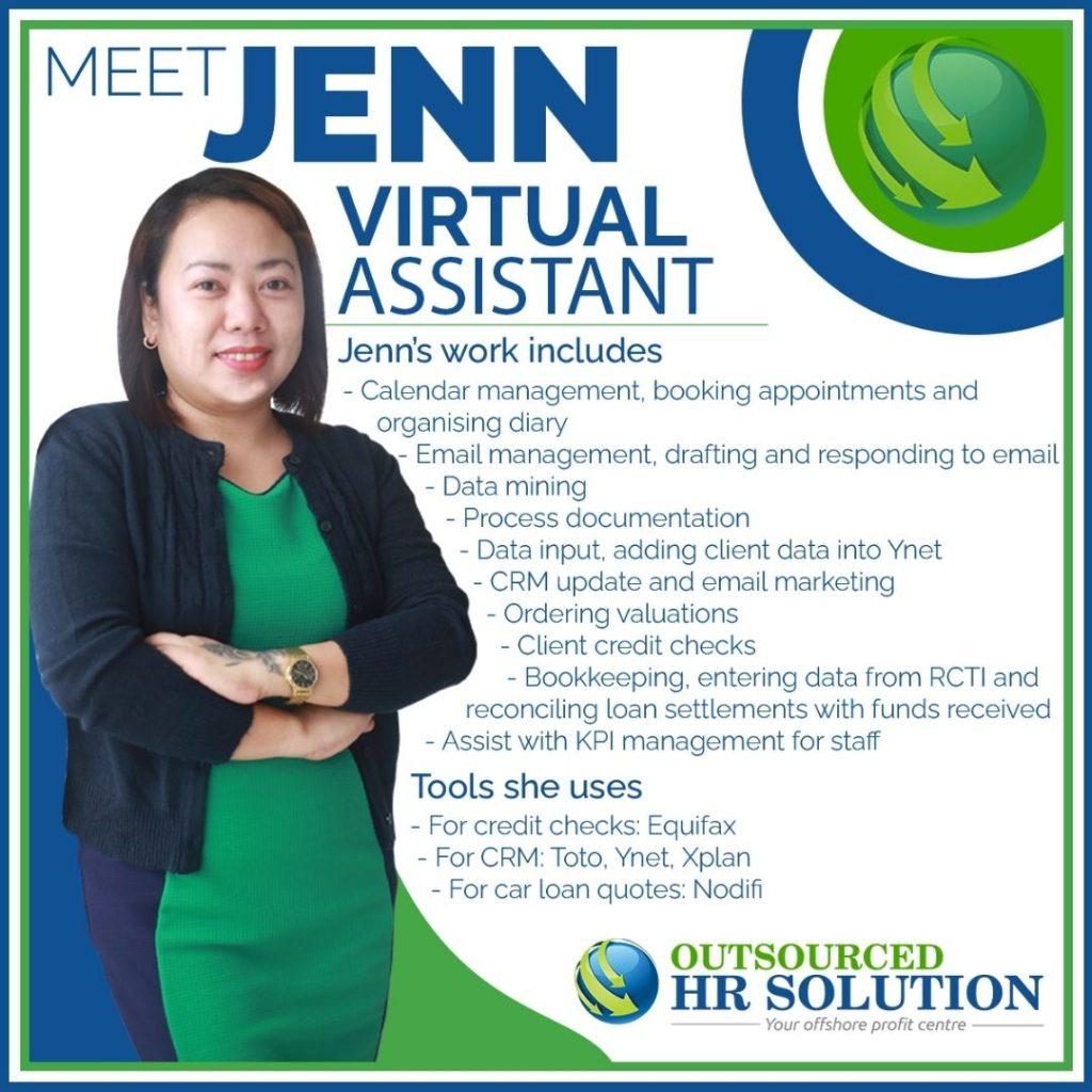 Jenn, offshore virtual assistant